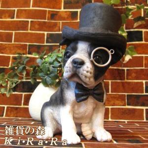 犬の置物 ボストンテリア リアルな犬の置物 ダンディードッグ 子いぬのフィギア イヌのオブジェ ガーデニング 玄関先|zakkakirara