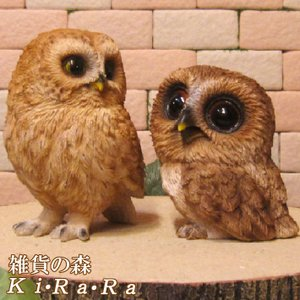 ふくろう 置物 リアルな鳥の置物 フクロウ親子 2体セット オウルオブジェ 縁起物 ガーデニング 玄関先 陶器|zakkakirara