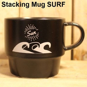 マグカップ サーフ 磁器 日本製 箱付き おしゃれ 小スペース収納 BLACK スタッキングマグ SURF|zakkamag