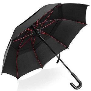 長傘 雨傘 ゴルフ傘 紳士傘 耐風傘 超大直径123cm ワンタッチ自動開き 二重構造空気抜ける 豪雨、強風、悪天候 zakkanoyamato