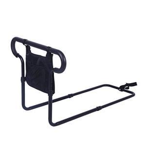 SUKONG ベッド用 起き上がり手すり ハンドル高度レール長さ調節可 小物整理バッグ付 1.4kg zakkanoyamato