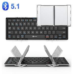 Bluetooth 折りたたみキーボード: 折りたたみ式のキーボードなので、軽い薄型のコンパクトキー...