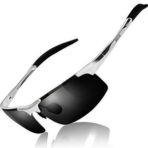 DUCO スポーツ メンズ 偏光サングラス UV400保護 AL-MG合金 シルバー グレー 817...