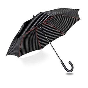 長傘 メンズ 雨傘 ワンタッチ自動開閉式 - ganamoda 耐風撥水加工 ストライプ ブラック 紳士傘 丈夫 大型 晴雨兼用 zakkanoyamato
