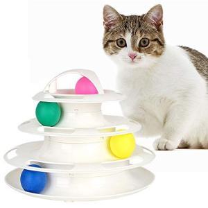 Gifty くるくるタワーボール 猫 おもちゃ 電池不要 グルグル玉ころ ボール サークル 猫用おもちゃ ストレス解消の画像
