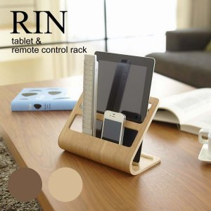 タブレット&リモコンラック RIN タブレット&リモコンスタンド リン iPad kobo iPhone 収納 ラック 便利 天然木 スタンド スマホ