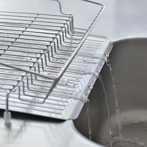 水切り ステンレス 水切りラック ディッシュラック 流れる 水切りプレートバスケット付き|zakkashopcom|04