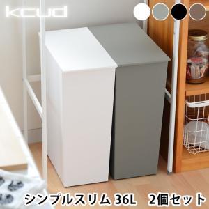 ゴミ箱 クード  kcud シンプル スリム 2個セット 縦型 おしゃれ キッチン 45リットル ゴミ袋対応 キャスター|zakkashopcom