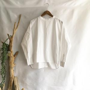 【Lilasic】オーガニックコットンタック襟ブラウス・ホワイト|zakkaswitch