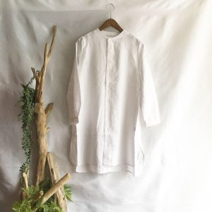 【Lilasic】フレンチリネンボトルネックチュニックシャツ・ホワイト|zakkaswitch