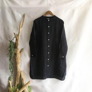 【Lilasic】フレンチリネンボトルネックチュニックシャツ・ネイビー|zakkaswitch