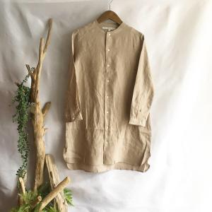 【Lilasic】フレンチリネンボトルネックチュニックシャツ・リネンベージュ|zakkaswitch