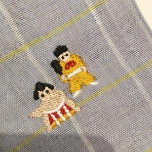 【にっぽん小物】刺繍ハンカチ・相撲・水色|zakkaswitch|02