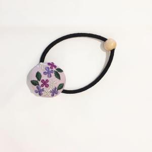 【にっぽん小物】刺繍ヘアゴム・パープル zakkaswitch