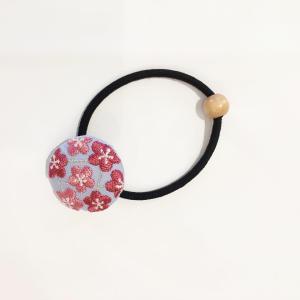 【にっぽん小物】刺繍ヘアゴム・水色 zakkaswitch