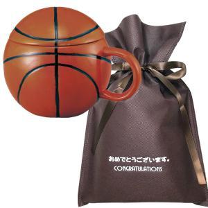 送料無料 【おめでとうございますギフト】フタ付きボールマグ(バスケット)【L】 バスケ 卒業記念品 プチギフト バスケ好き バスケ部 プレゼント|zakkayafree