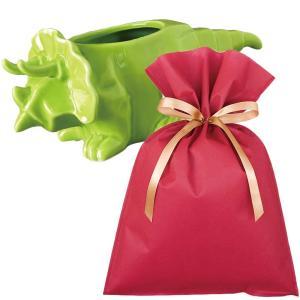 送料無料 ダイナソーポット トリケラトプス(グリーン)ギフトセット【L】 恐竜 グッズ プレゼント 植木鉢 おしゃれ 室内 小物入れ プレゼント zakkayafree