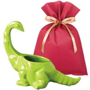 送料無料 ダイナソーポット ブラキオサウルス(グリーン)ギフトセット【L】 恐竜 グッズ プレゼント 植木鉢 おしゃれ 室内 小物入れ プレゼント zakkayafree