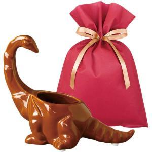 送料無料 ダイナソーポット ブラキオサウルス(ブラウン)ギフトセット【L】 恐竜 グッズ プレゼント 植木鉢 おしゃれ 室内 小物入れ プレゼント zakkayafree
