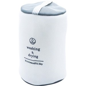 W/D ランドリーネット 筒型 GRAY 洗濯ネット おしゃれ ランドリーネット トラベルポーチ 洗濯機 ネット zakkayafree