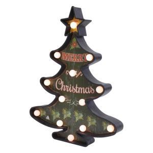 クリスマス LED ツリー サインボード ブラック クリスマスツリー led 卓上 クリスマス 飾り イルミネーション|zakkayafree