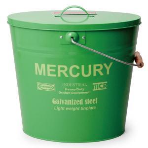 マーキュリー(MERCURY)ロゴが正面に入ったふた付きブリキバケツ。  インテリア映えしそうな明る...