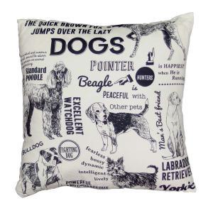 ビンテージポスタークッション ドッグ クッション おしゃれ かわいい 犬 レトロ