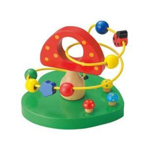 ウッデントイ ビーズコースター キノコ 木 おもちゃ 木のおもちゃ 知育玩具 木製 おもちゃ|zakkayafree