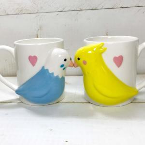 【あすつく】インコ雑貨 マグカップ ペア セット おもしろ雑貨 おもしろプレゼント インコのペアマグ|zakkayafree