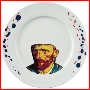 フェイスディッシュ ゴッホ おもしろ プレゼント ランチプレート 陶器 パスタ皿 パスタプレート 皿 白|zakkayafree