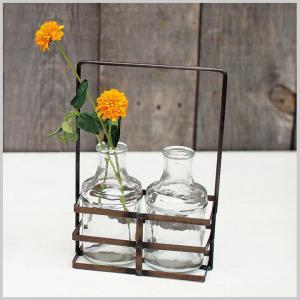 花瓶 ガラス 容器 小物入れ フラワーベースブリュージュ 2ボトルアイアンホルダー|zakkayafree
