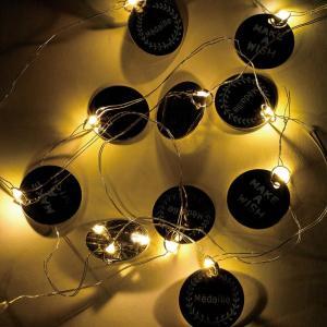 クリスマス LEDメタルガーランド コイン シルバー ガーランド ライト インテリアライト led イルミネーション|zakkayafree