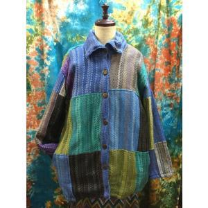 エスニックコート 裏フリースコート ネパール パッチワーク ブルー系 アジアンファッション メンズ レディース アウター|zakkayakaeru