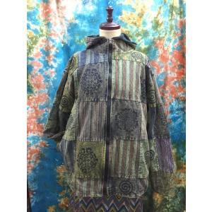エスニックコート 裏フリースコート ネパール カーキ系 アジアンファッション メンズ レディス アウター|zakkayakaeru