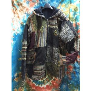 エスニックコート 裏フリースコート ネパール ゲレ生地 アジアンファッション メンズ レディース 冬アウター|zakkayakaeru