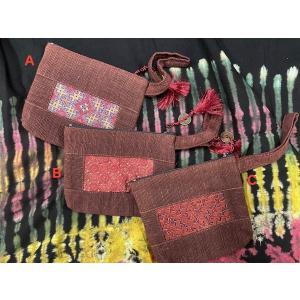 エスニックポーチ モン族 古布 刺繍 内ポケット付き 3柄 茶系 ストラップ|zakkayakaeru