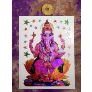 キラキラシール/ガネーシャ神 ヒンドゥー インドの神様 シヴァ神の息子 学業 受験 商売繁盛 アジア エスニック|zakkayakaeru