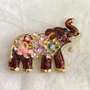 ブローチ/鼻上がり象さん ラインストーン/ブラウン系 ラメ キラキラ ゾウ ぞう|zakkayakaeru