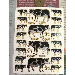 キラキラシール/牛・ホルスタインC  黒 右向き 左向き cow タイ文字 サイズ大小 ロングセラー T19-1-29|zakkayakaeru