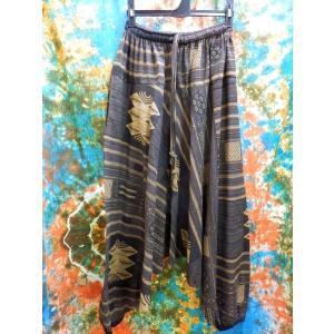 サルエルパンツ エスニック ファッション アジアン ゴム メンズ レディース ダークブラウン|zakkayakaeru