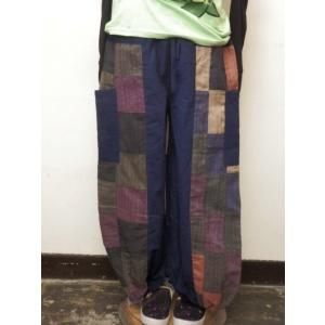 アラジンパンツ モンペ系 パッチワーク フリーサイズ アジア エスニックパンツ メンズ ネイビーとブラック|zakkayakaeru