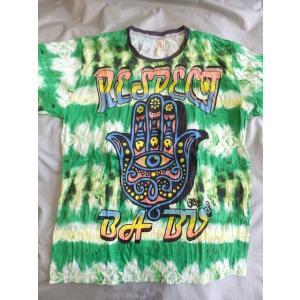 メンズTシャツ/ファティマの手/L/グリーン系 メンズM〜XL  エスニック アジアン フェスにぴったり! 目好き シワ加工|zakkayakaeru