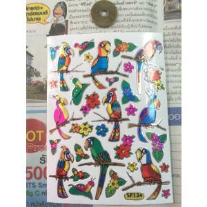 キラキラシール/ファンシーなオウム インコ系 鳥シール bird|zakkayakaeru