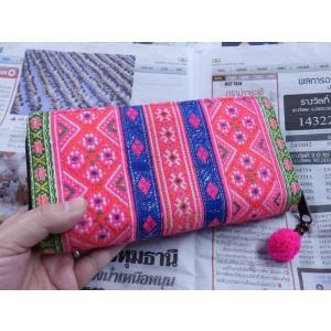 モン族古布長財布A エスニック アジア 男女共 少数民族布 カラフル 刺繍 ピンク|zakkayakaeru