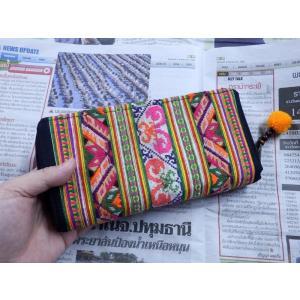 モン族古布長財布B エスニック アジア 男女共 少数民族布 カラフル 刺繍 マルチカラー|zakkayakaeru