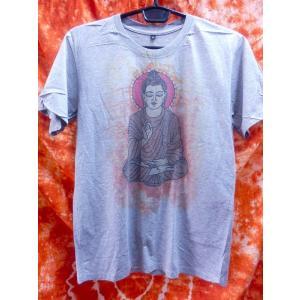 アジアンTシャツ/お釈迦様 仏陀 ブッダ メンズS グレー系 レディスM エスニック アジアン|zakkayakaeru