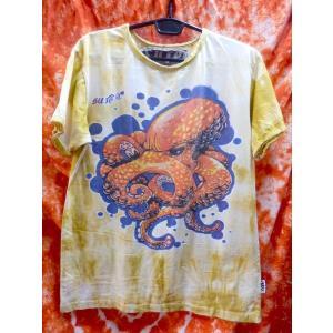 メンズTシャツ/蛸 タコ オクトパス イエロー系 メンズL エスニック アジアン フェス sure|zakkayakaeru