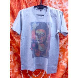 アジアンTシャツ/お釈迦様と蓮 仏陀 ブッダ メンズS グレー系 レディスM エスニック アジアン|zakkayakaeru
