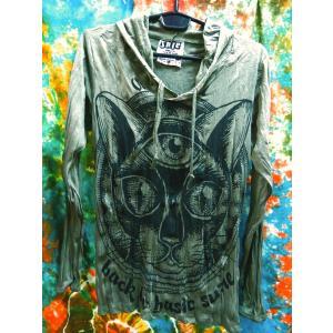 シワ加工 フード付ロンT 長袖Tシャツ レディースS 女子S〜M 猫 ねこ ネコの顔 カーキ 肌触り良し アジアン エスニック ヨガ|zakkayakaeru