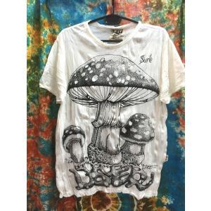 アジアンTシャツ/きのこ キノコ mushroom 白 ホワイト メンズTシャツ L〜XL アジア エスニック sure 着心地抜群 YOGA ヨガ バックプリント|zakkayakaeru